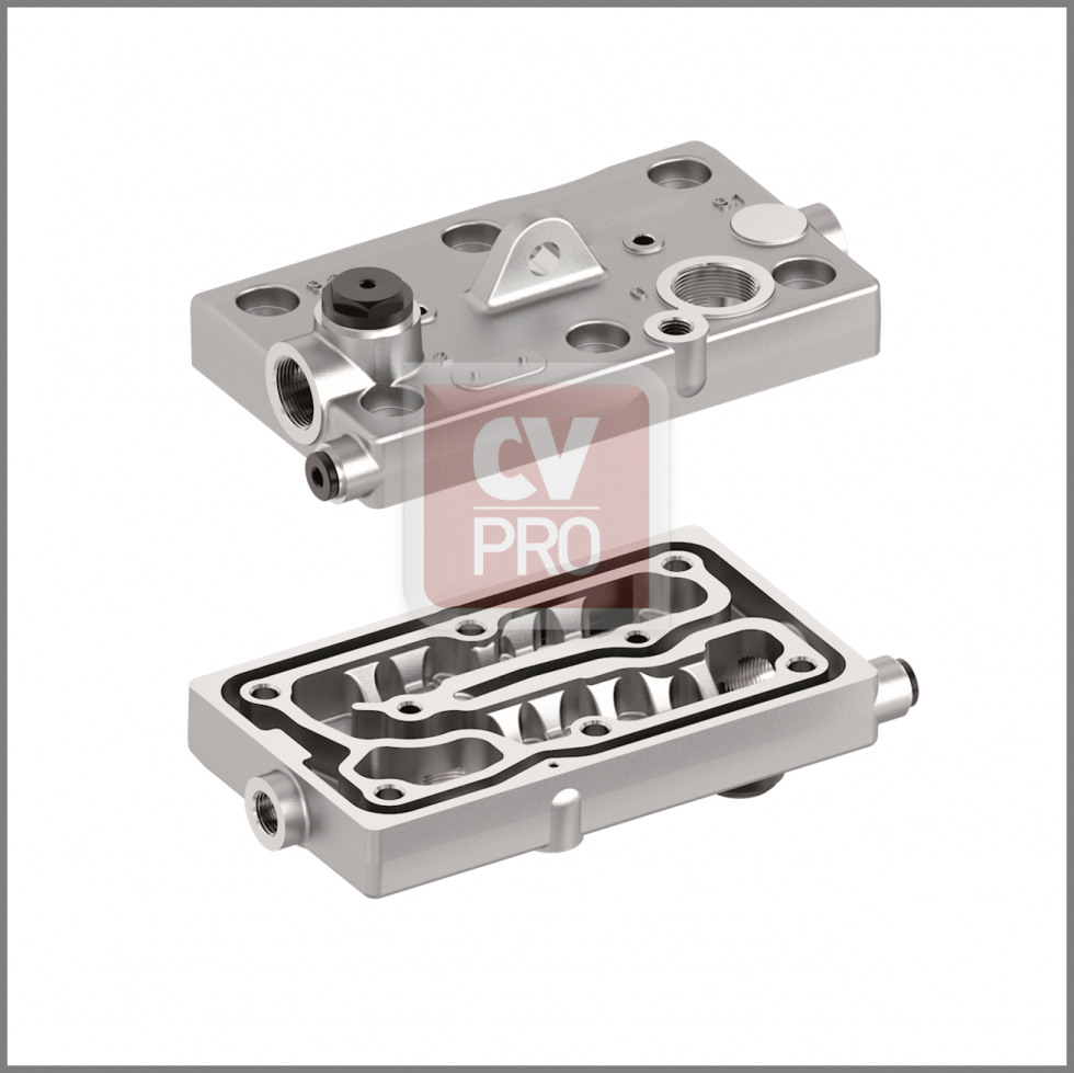 Cylinder Head Wabco 0011305915-H2 Replaces Mercedes Benz0011305915-H2Replaces Wabco9125109202-H2 Air Brake Compressor Cylinder Head (Bare)