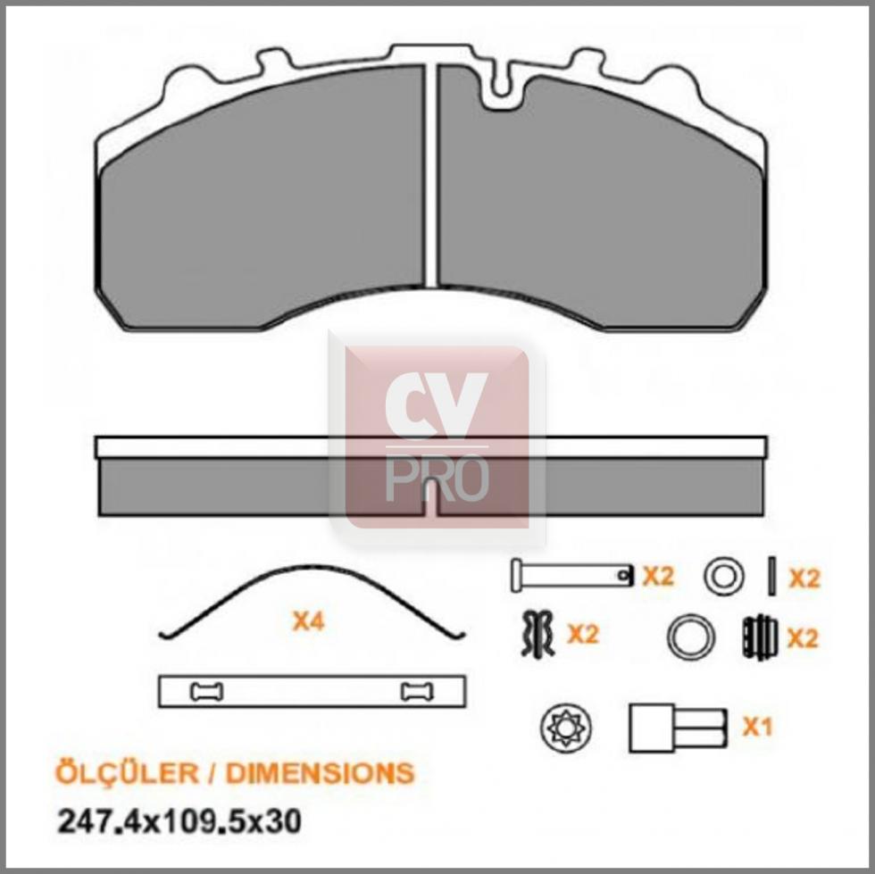 BRK002-0001 Super Series Disc Brake Pad Set WVA29087; WVA29042; WVA29045; WVA29046; WVA29059; WVA29061; WVA29105 Knorr-Bremse SB7/SN7